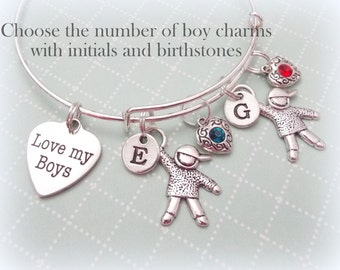 Gift for Mother, Mom Gift, Love My Boys Charm Bracelet, Personalized Jewelry Gift for Mom, Birthstone Jewelry, Initial Jewelry for Mom, M02