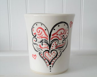 gift for mom, hand painted ceramic heart mug, pottery mug, handmade mug, hand painted mug, unique mug, soup mug, tea mug, hot chocolate