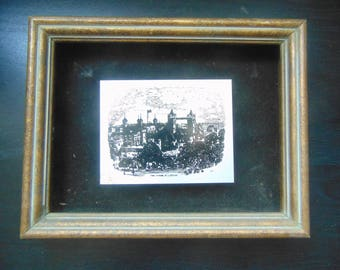 Tower of London-Vintage Edward Art Products English Scene Framed Metal Art