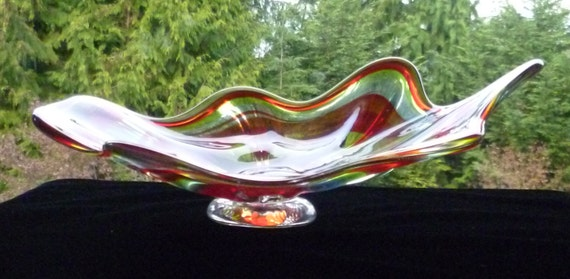 Hand Blown Footed Dish or Wall Hanging - Red and Green Swirl - Fluted
