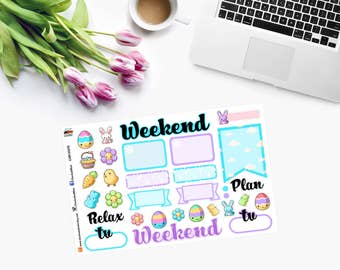 NEW!!! Weekly Sheet EASTER / APRIL Planner Stickers - CAM00175