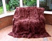 Luxury real Tuscan lambskin pelts throw blanket burgundy colour size 210cm x 190cm 304