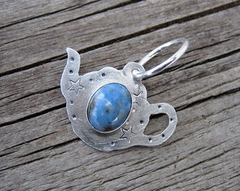 Starry teapot sterling silver and lapis lazuli pendant // ready to ship