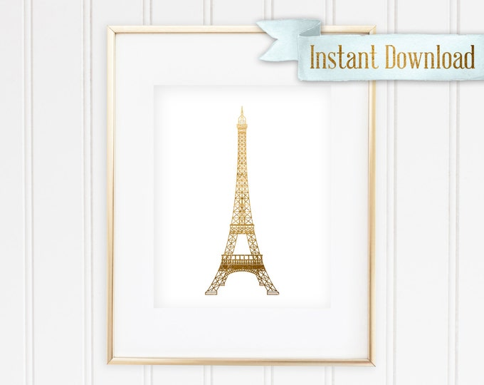 Goldish Eiffle Tower - Printable - Instant Download