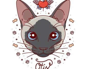 Custom cat portrait. Cat painting. Pet illustration. Art digital file. Whimsical portrait. Cat cartoon. Cat lover gift. Gift for pet lovers.