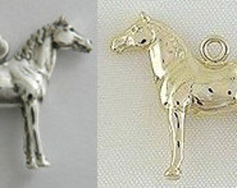 Thoroughbred Horse Charm Horse Pendant Rearing Capriole Morgan Quarter Equestrian Horse Sterling Silver Gold Vermeil Charm Pendant FREE SHIP