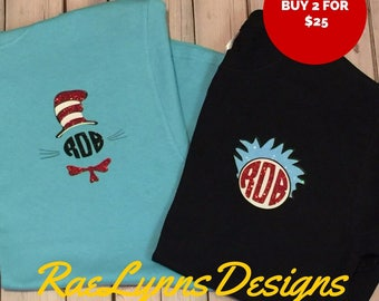 Dr. Seuss Teacher Shirt. PERSONALIZED.T-shirt.Thing One Thing Two. Cat and the Hat. Teacher Gift. Read Across America Shirt. Monogrammed
