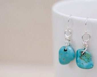 Kingman Turquoise Nugget Earrings