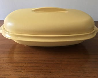 Vintage Tupperware Yellow Steamer/ Serving Dish
