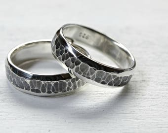 domed wedding band set silver wedding rings, his and her promise ring set, matching silver rings, bride groom band, matching rings his hers