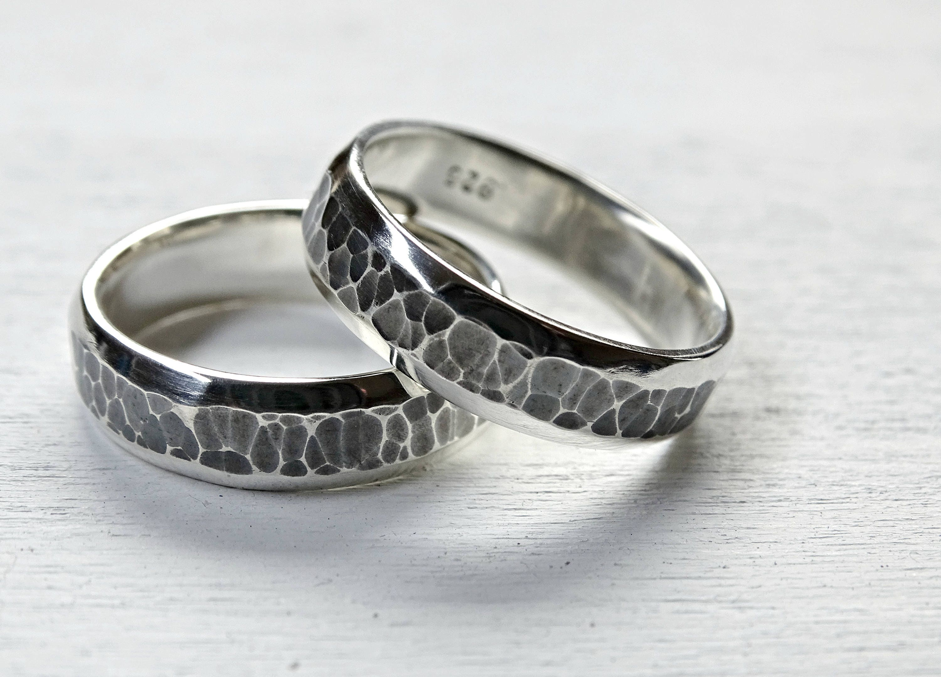 domed wedding band set silver wedding rings his and her