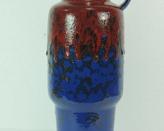fantastic late 60's VASE red and blue with black fat lava glaze