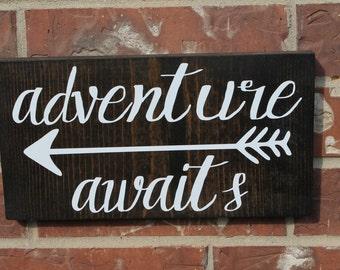 Adventure Awaits Sign, Adventure Sign, 12x6 Sign, woodland arrow, Nursery Decor, Hand Painted Sign