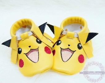 Pikachu Moccs, Babby Moccs, Baby Moccasins, Pikachu Shoes, Pokemon Moccs