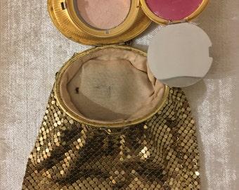 Vintage 1930s Vanity Evans Guilloche Compact Art Deco Gold Mesh Purse Evening Bag