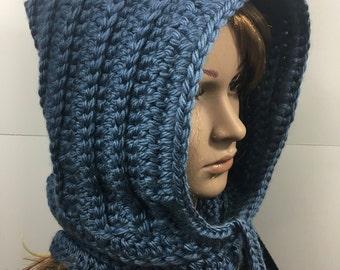 Knit Hood, Hooded Scarf, Crochet Cowl, Hood Scarf,  Crochet Hood Scarf, Knit Cowl  Color : Denim Blue