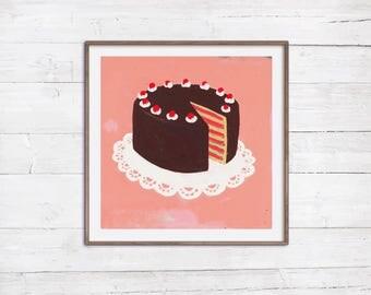 Sale 30% auf Torte 50x50 cm Poster Hingucker in der Küche handgefertigte Illustration Malerei auf Leinwand Retro Vintage Kitsch