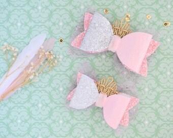 Princess Sleeping Beauty bow hair clip, Disney princess bow, glitter Sleeping Beauty bow