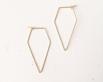 Wire point hoop earrings, dainty wire hoop