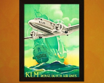 BUY 3 Get 1 FREE Royal Dutch Airlines Travel Poster 1936 Vintage Travel Airline Poster Tourism   Poster  Art  KLM