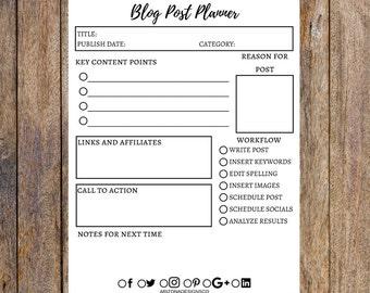 Blog Post Planner Printable   Blog Planner, Blogging, Blog Organizer, Printable Planner, Planner Inserts   PDF   Instant Download