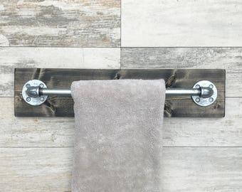 Rustic Industrial Handmade Modern Towel Holder, Pipe Bathroom, Modern Look, Workshop, Office, Custom Hand Distressed Wood