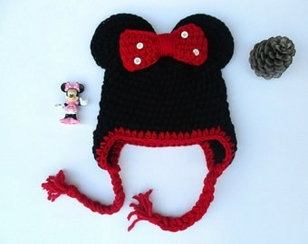 minnie mouse hat, minnie mouse crochet hat, disney hat, animal hat, newborn hat, girls hats, photo prop, minnie mouse beanie, winter hat,