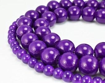 Dark Purple Glass Beads Round 6mm/12mm Shine Round Beads For Jewelry Making Item#789222045241