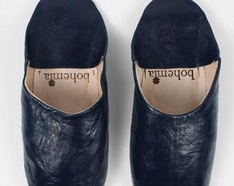 Basic Moroccan Babouche Slippers, Indigo