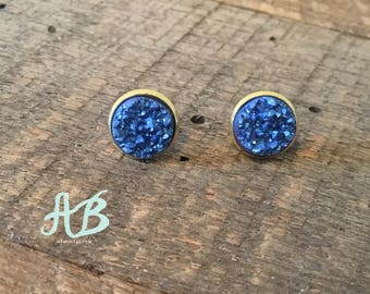 Druzy Earrings - Denim Blue
