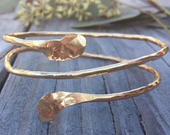 Gold Coil Bangle Bracelet