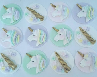 24 x unicorn inspired fondant Cupcake toppers