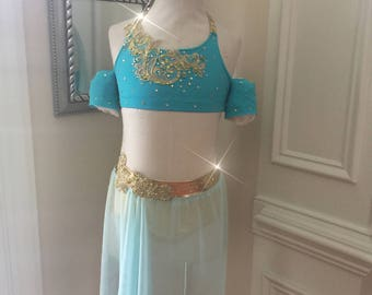 2 Piece Custom Lyrical Dance Costume--Jazz or Contemporary TEAL Aladdin Turquise