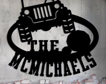 Jeep Off Road Family Name Sign - Metal Wall Art - Gift
