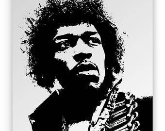 Jimi Hendrix. Mirror hand engraved, sandblasted and coloured spray.