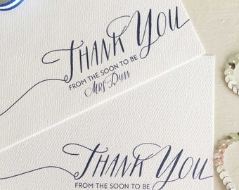 Personalised Thank You Notes - Engagement Thank You Cards - Custom Thank You Note Cards - Personalized Stationery Sets - Calligraphy