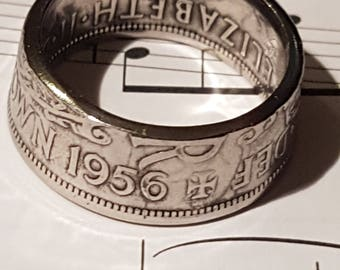 Coin Ring Half Crown  - Hand Crafted 1956 - Size V