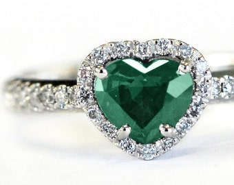 Emerald engagement ring, emerald cut engagement ring, emerald ring, his and her promise ring, emerald diamond, gift for wife