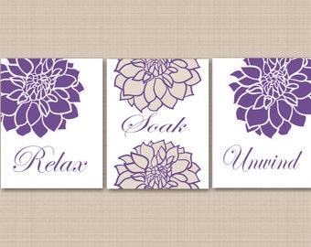 Purple Floral Bathroom Wall Art,Lavender Bathroom Wall Art,Purple Gray  Floral Wall Art