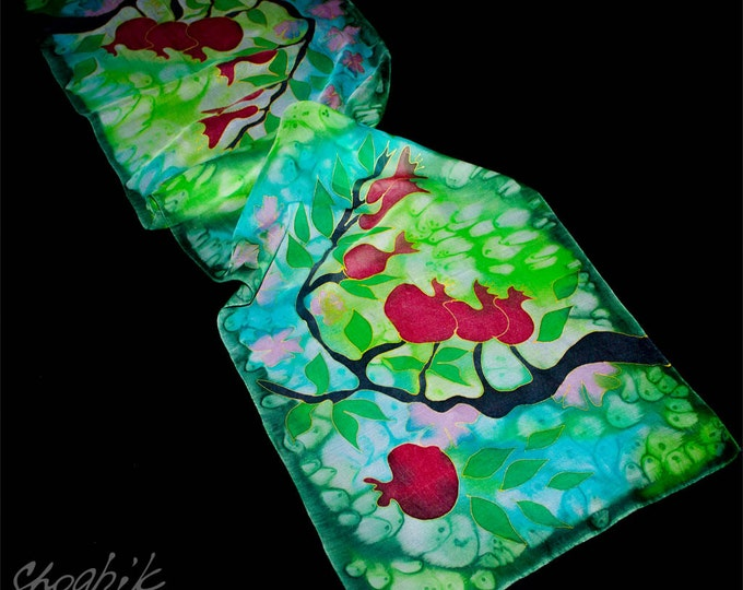 Hand Painted Silk Scarf - Batik Gift for Her - Armenian Handmade - Pomegranate