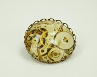 Brooch gears - pin bronze brooch with steampunk gears movement motif in brown - white gear brooch cabochon