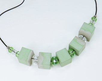 Cube necklace with beads and gray - green concrete concrete jewelry unique on a black leather strap jewelry concrete cubes green concrete jewelry