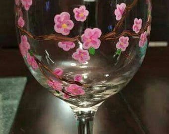 Pink Cherry Blossoms Wine Glass