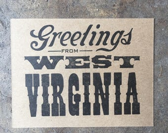 Greetings From WV Letterpress Postcard (Set of 5)