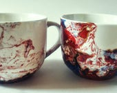 MR AND MRS mug hand painted handmade red and blue valentind gift unique our first christmas ooak big mug custom made gel gold