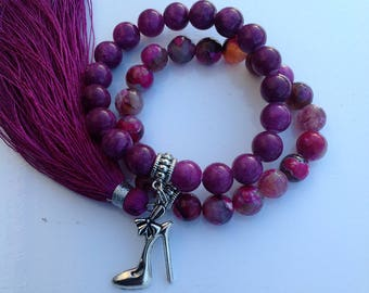 Burgundy long tassel, burgundy beads, heels