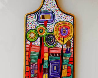Art Style Handmade acrylic painting on Kitchen Decorative Wooden Cutting Board  Hundertwasser Home Decor.