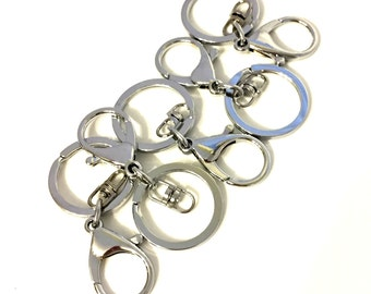 Chrome Key Ring / Chrome Key Chain / Chrome Keychain / Chrome Key Ring / Silver Key Rings / Silver Keychains / SET OF FIVE