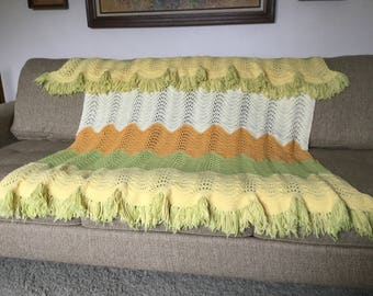 Wavy Chevron Afghan with Fringe in Orange, Green Yellow and Cream, Soft 70s Colors Afghan