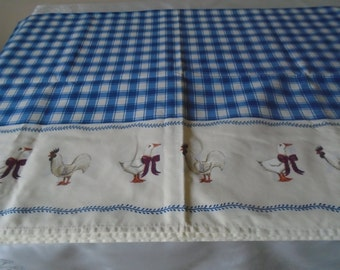 Blue gingham check tablecloth chicken/geese border farm house kitchen